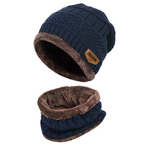 VBIGER Kids Chapeau en tricot chaud et écharpe tubulaire avec doublure en laine,2 pièces