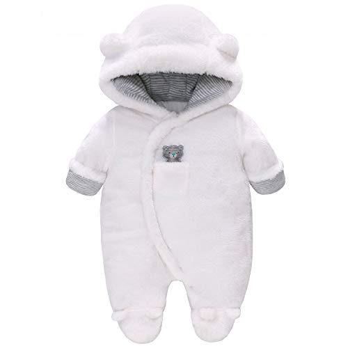 Costume de neige en vigne Vêtement d'hiver pour bébé Vêtements d'hiver Peaux de mamelouks avec capuche Des singes chauds pour garçons Filles, blanc 0-3....